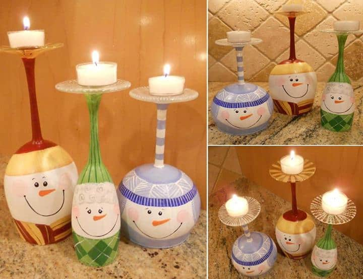 Wine Glass Snowmen Candle Stands