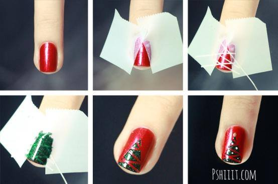 christmas tree nails tutorial
