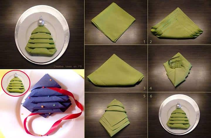 Christmas Tree Napkin Folding Tutorial | DIY Cozy Home