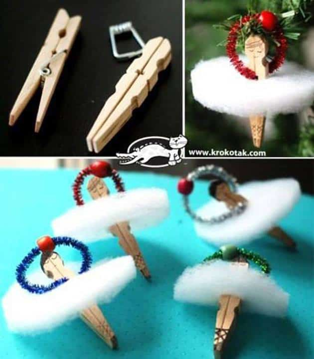 clothes pin ballerina ornament