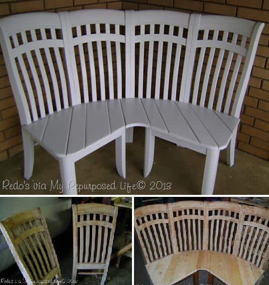 & DIY Corner Bench From 4 Old Chairs