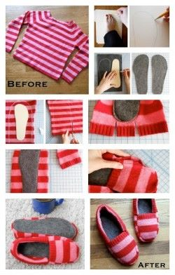 diy sweater slippers