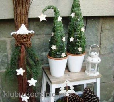 miniature potted christmas tree idea