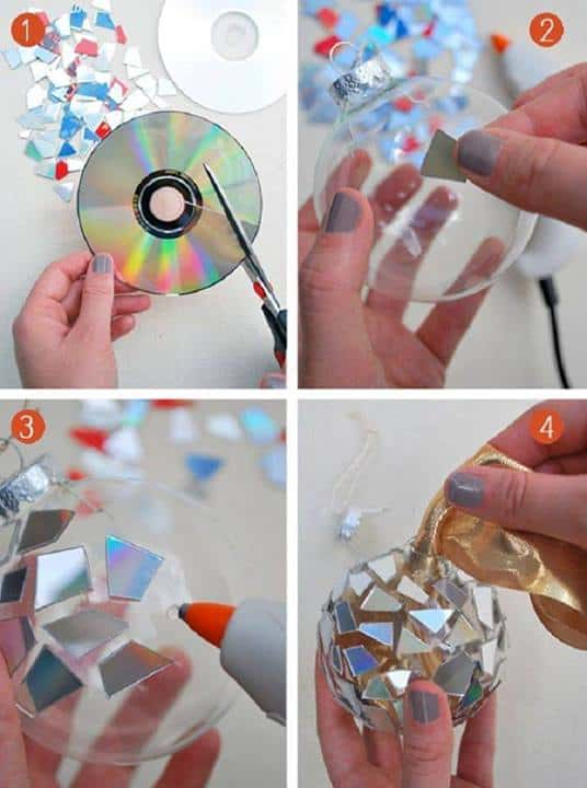 mosaic cd christmas ornament craft