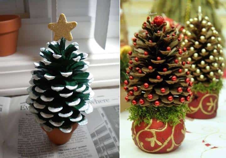 pine cone christmas trees - Homemade Pine Cone Christmas Decorations