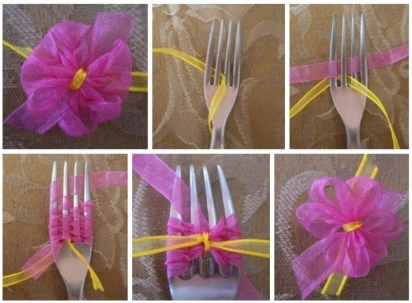 ribbon bow tied on fork