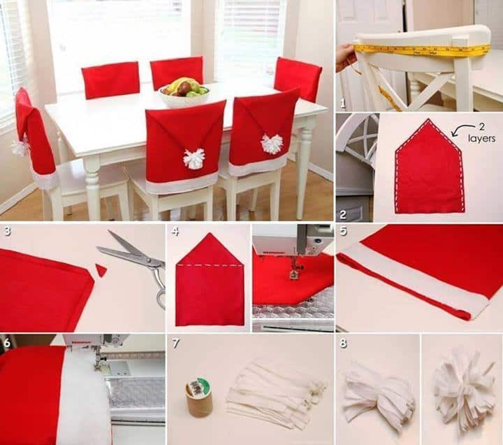 Santa Hat Chair Back Covers DIY Cozy Home