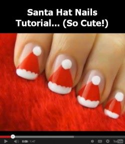 santa hat nails tutorial