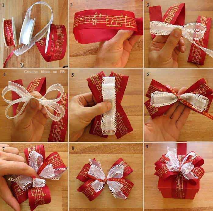 12 diy christmas present bow tutorials - How To Make Christmas Bows Out Of Ribbon