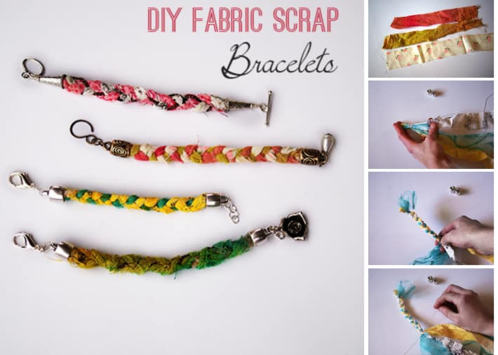 fabric scrap bracelet tutorial