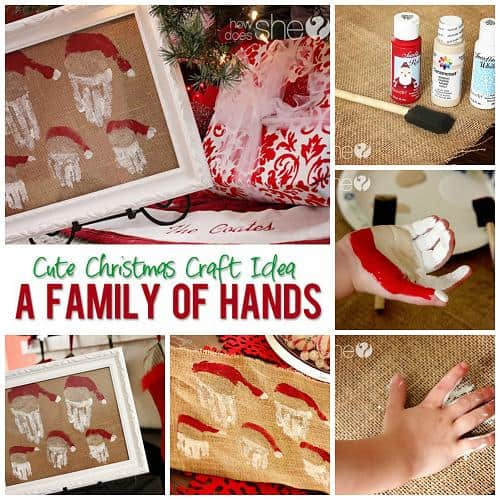 family christmas art santa hand prints