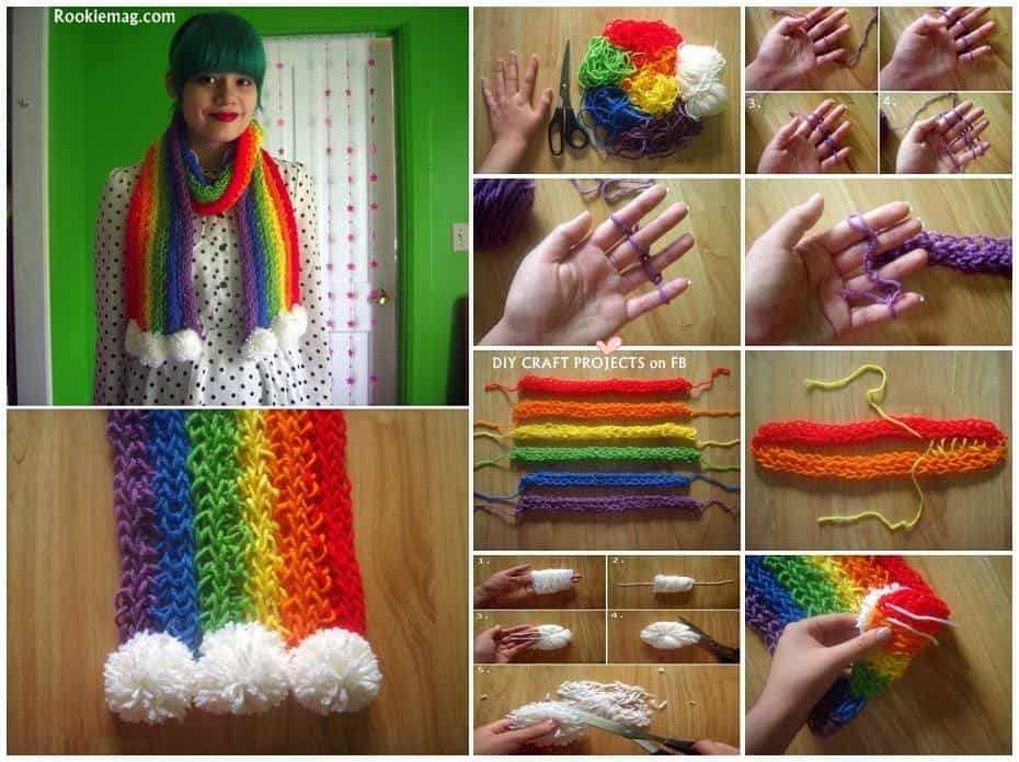Finger Knitted Scarf Tutorial Diy Cozy Home