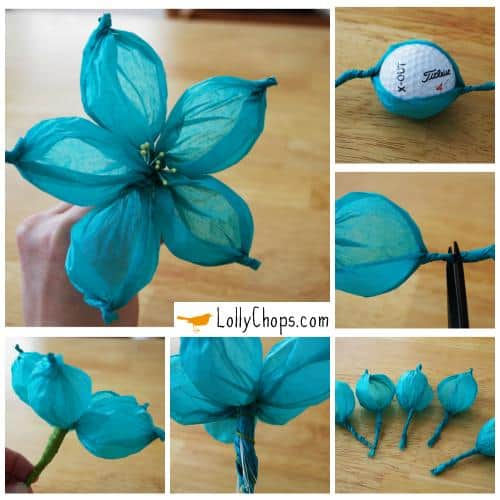 Tissue paper flowers using a golf ball mightylinksfo