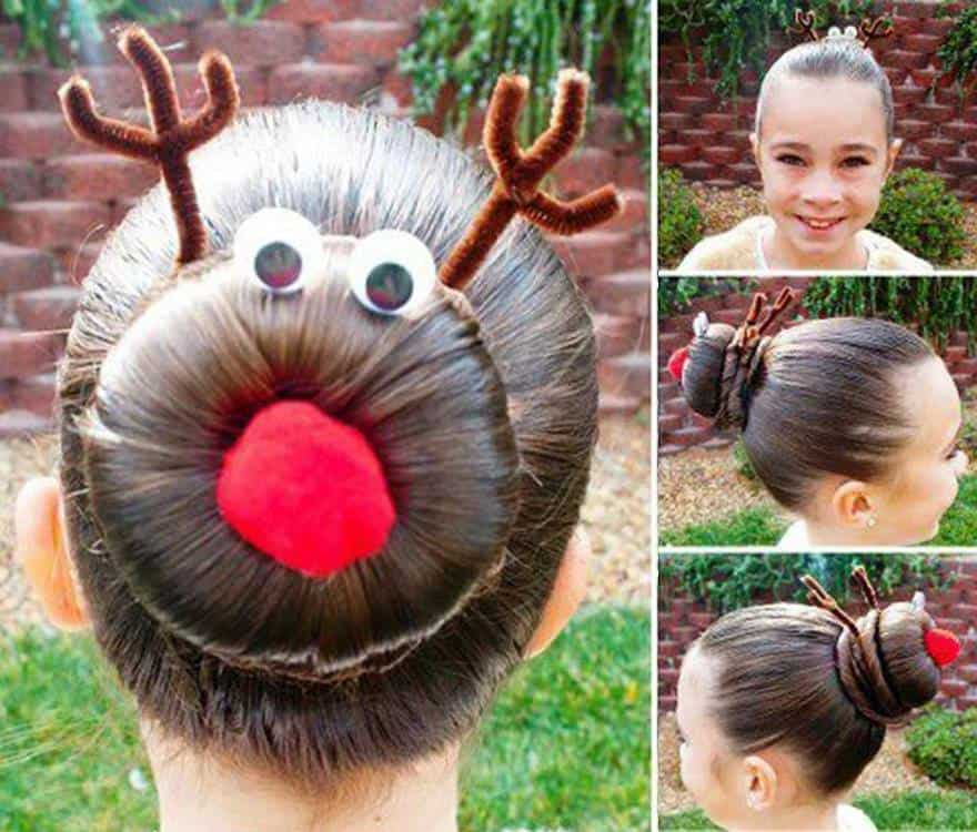 holiday hairstyles rudolph bun