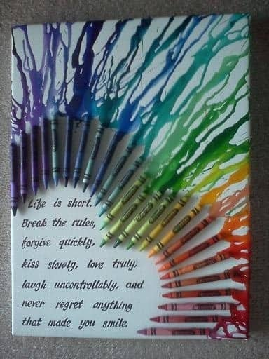 melted crayon wall art quote