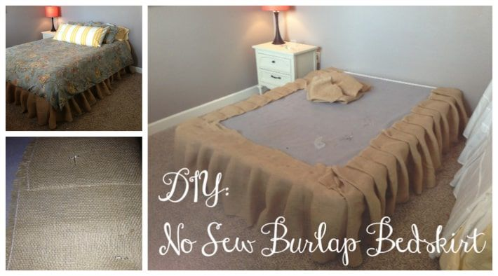 No Sew Burlap Bed Skirt Tutorial Diy Cozy Home