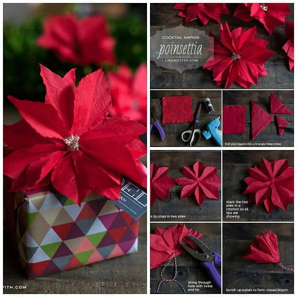 poinsetta napkins