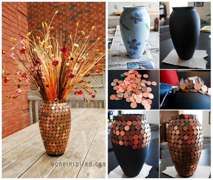 Decorate A Vase With Pennies DIY Cozy Home