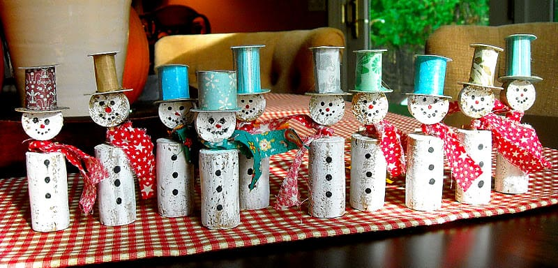 wine cork snowmen tutorial