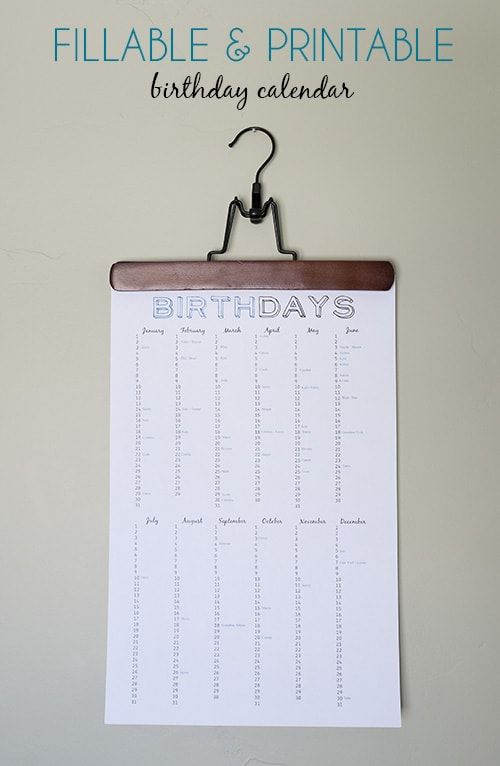 birthday reminder chart free printable