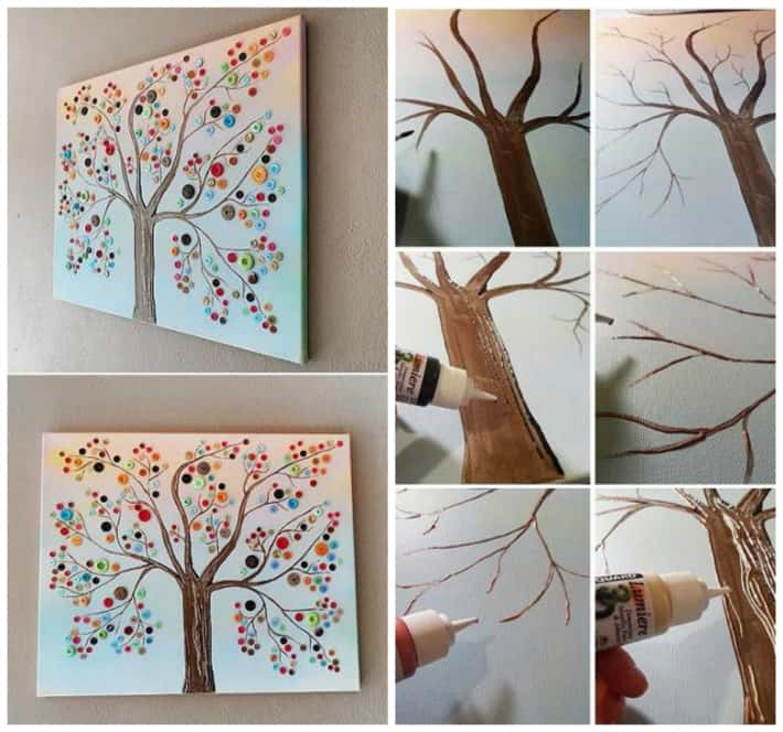 Tree Canvas Wall Art button tree canvas wall art | diy cozy home