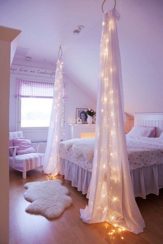 Diy Bedroom Christmas Light Curtains