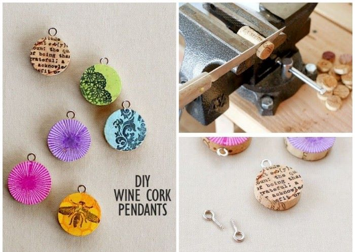 diy wine cork pendants