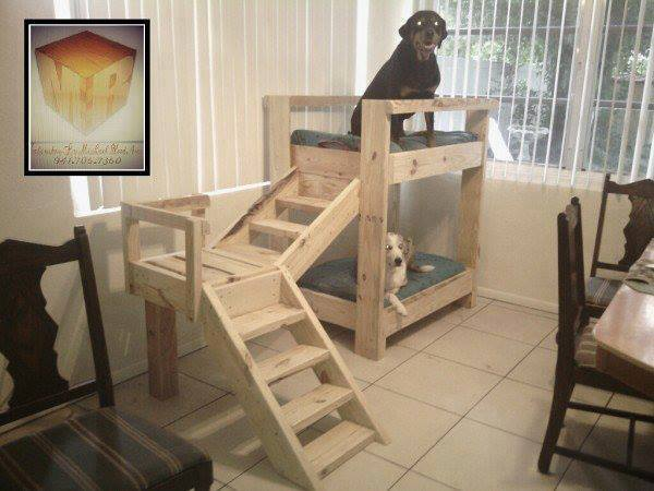 doggy bunk bed from pallets diy cozy home. Black Bedroom Furniture Sets. Home Design Ideas