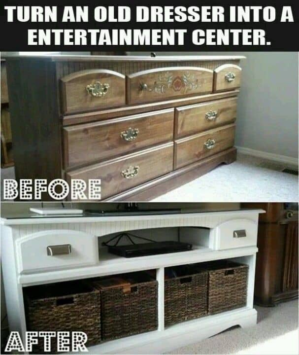 Turn An Old Dresser Into An Entertainment Center