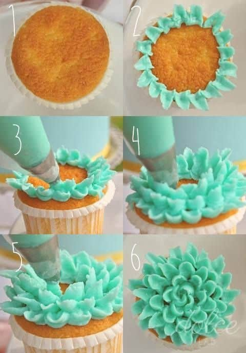 flower petal cupcake decorating