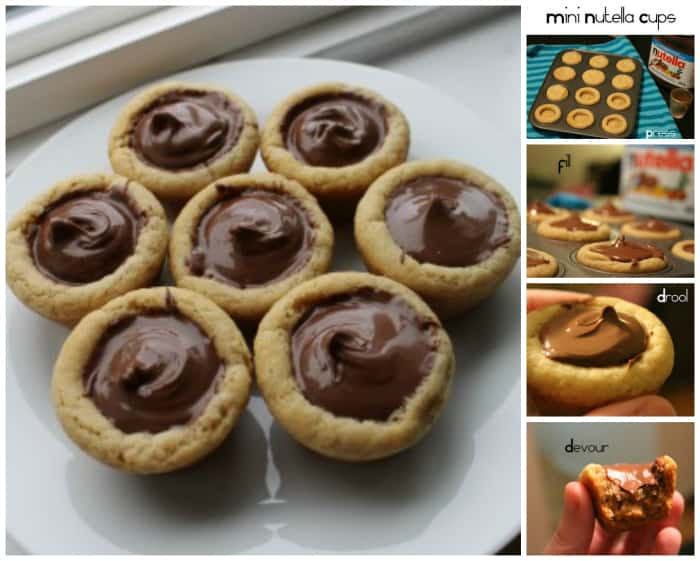 mini nutella cookie cups