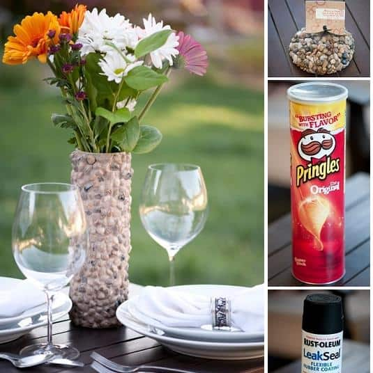 pebble pringles flower vase