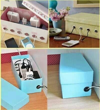 Shoe Box Charging Cord Organizer
