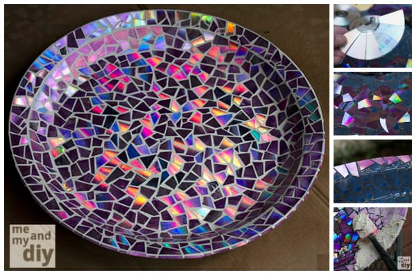 dvd mosaic bird bath