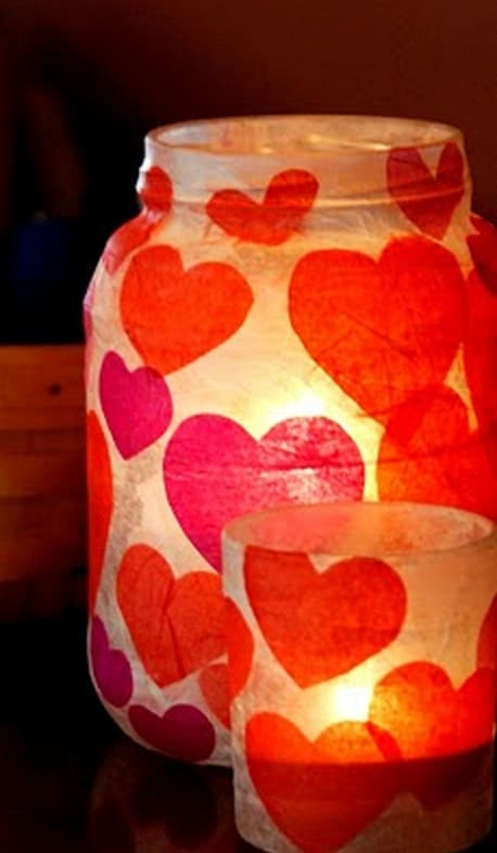 mod podge hearts jar