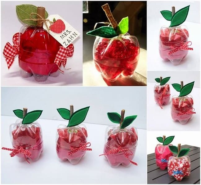 recycled bottle teacher apple