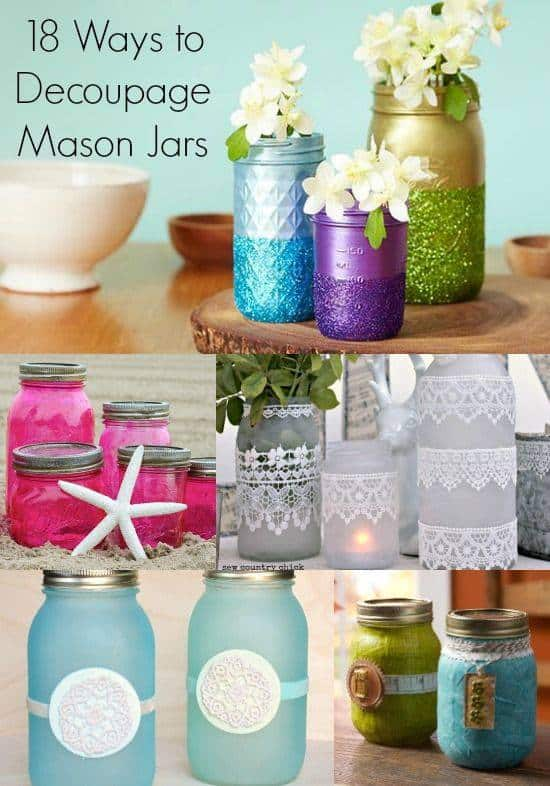 18 Mason Jar Decoupage Tutorials