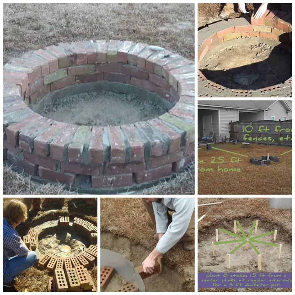 Brick rubble into fantastic circular fire pit diy cozy home for Diy brick fire pit
