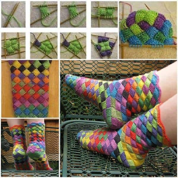 Entrelac Sock Knitting Pattern