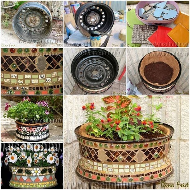 mosaic wheel planter