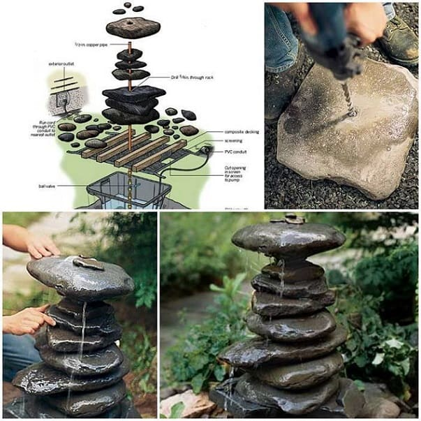 stacked rock diy fountain
