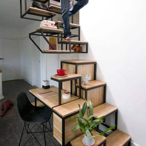 Suspended Staircase With Desk And Storage Space