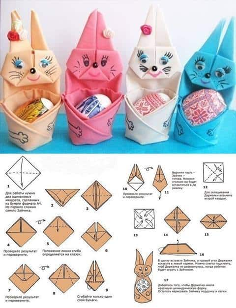 DIY Napkin Folded Bunny With Easter Egg