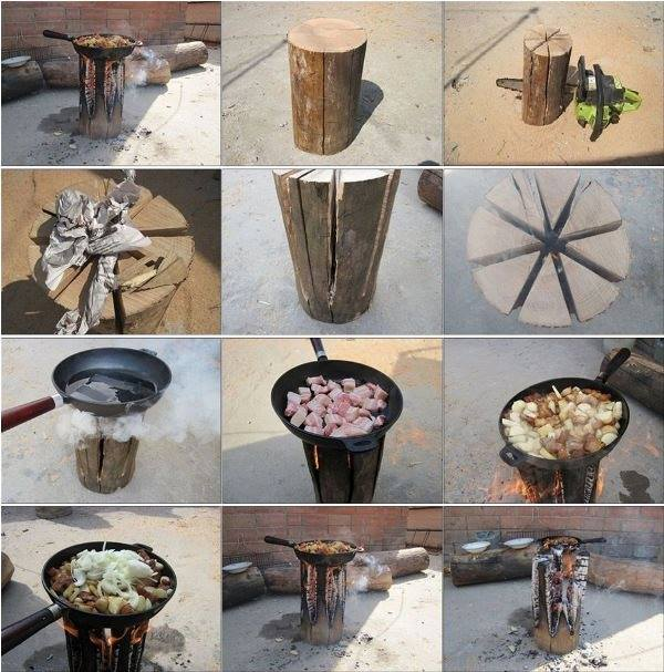 DIY Log Camp Stove