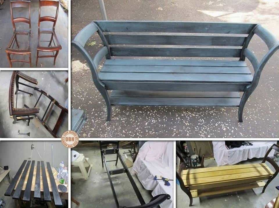 diy bench from old chairs diy cozy home. Black Bedroom Furniture Sets. Home Design Ideas