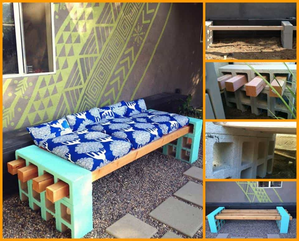 Easy cinder block bench diy cozy home for Cinder block seating area