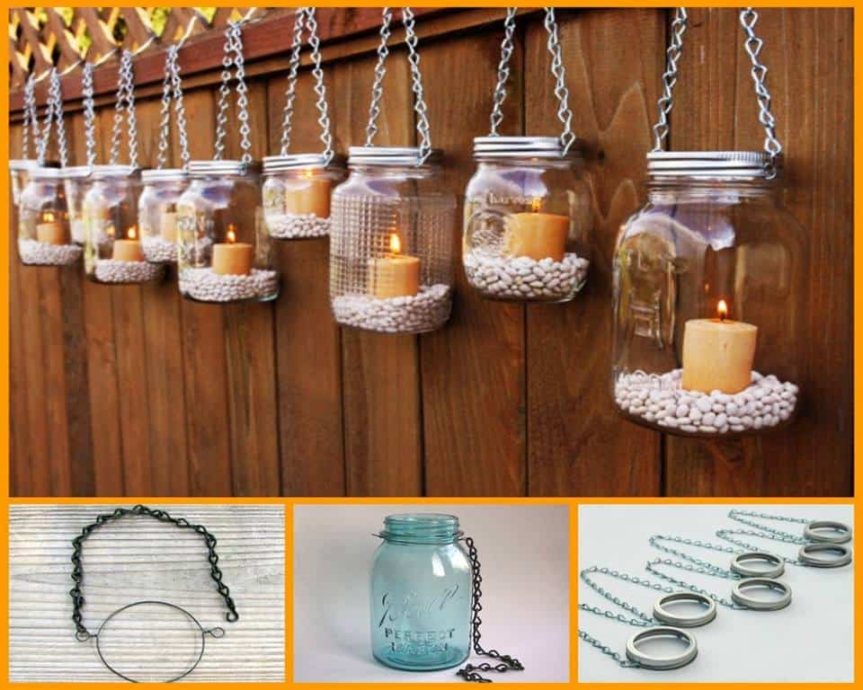 Backyard Mason Jar Lanterns