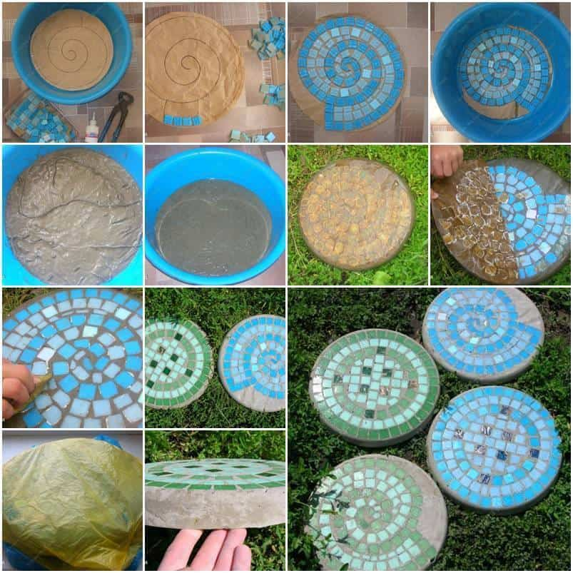 Diy mosaic stepping stones diy cozy home for Diy garden stepping stones