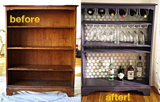 DIY Bar (Repurposed Bookshelf)