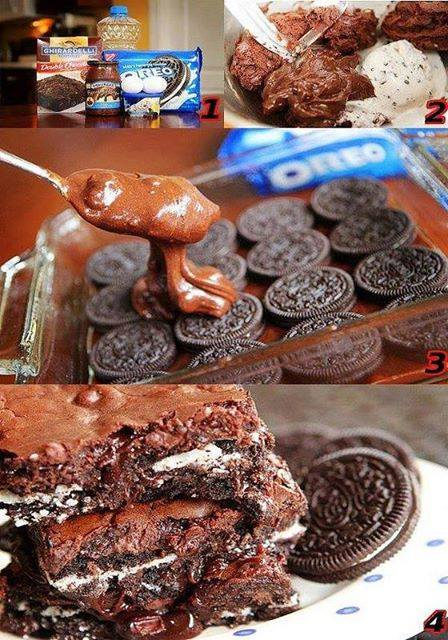 Hot Fudge Sundae Oreo Brownies